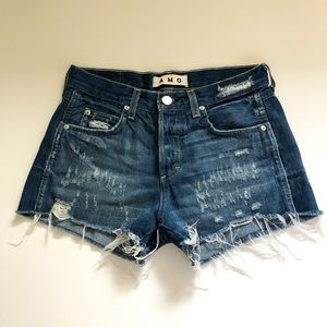 AMO Tomboy Shorts in Blue Nile with Destroy